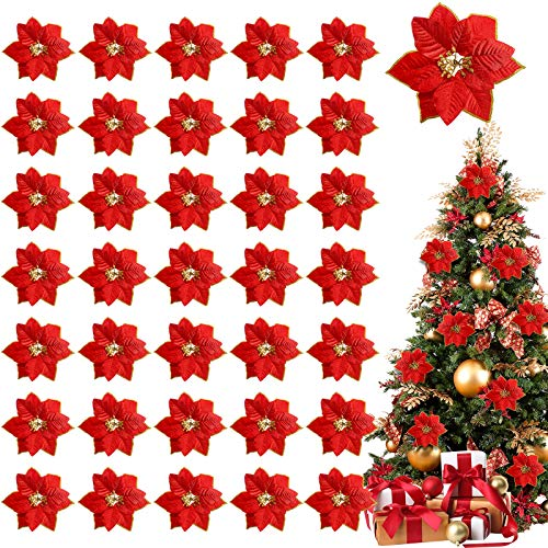 TURNMEON 36 Pack Christmas Gold Silver Glitter Poinsettia Artificial Silk Flowers Picks Christmas Tree Ornaments 4 Inch Wide for Gold Christmas Tree Wreaths Garland Holiday Decoration(Red)