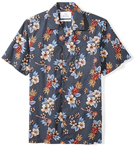 Amazon Brand - 28 Palms Men's Standard-Fit Tropical Hawaiian Shirt, Blue Guitar Floral, X-Small