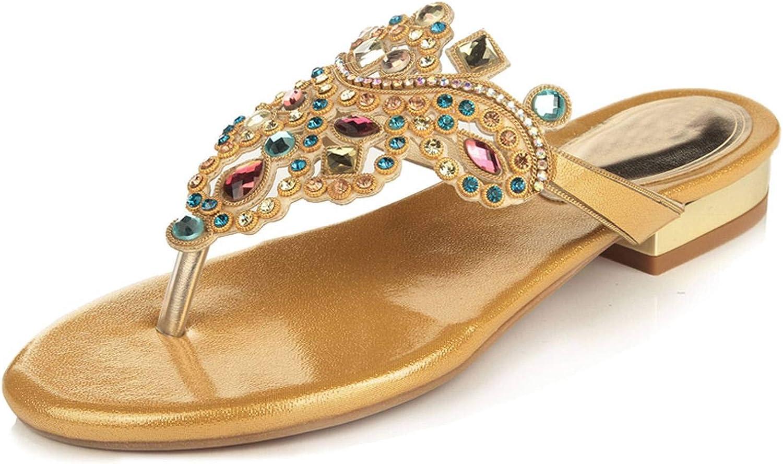 YooPrettyz Rhinestone Thong Sandals Exotic Flat shoes Chunkly Low Heel Pump shoes