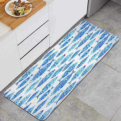 VANKINE Fish Sea Animal Figures with Ancient Ottoman Ornate Mosaic Hand Drawn Style Marine Anti Fatigue Mat Comfort Floor Mats Non-Slip Oil Stain Resistant Easy to Clean Rug