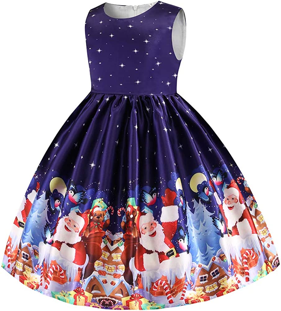 Girls Dress Party Dress for Girls Knee Length Cute Priness Dress Christmas Holiday Dress(7-8 Years,Christmas Girls Dress)