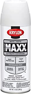 Krylon K09197000 COVERMAXX Spray Paint, Matte White, 12 Ounce