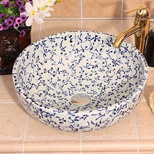Allamp Modern Lavabo del baño Azul y Blanco Porcelana Arte encimera Fregadero Cuarto de baño Lavabo Lavabo de cerámica Pintada Recipiente de Mano se Hunde