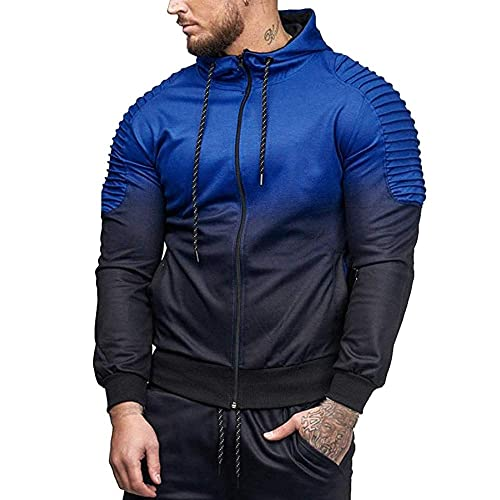 BaZhaHei Mens Autumn Winter Hoodie Long Sleeve Tshirts Splicing Fold Hooded Top Mens Blouse Casual Outwear Sports Shirt Gym Crop Tops Mens Hooded Coat Fashion Sweatshirt