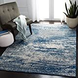 Safavieh Evoke Collection EVK272A Modern Abstract Non-Shedding Stain Resistant Living Room Bedroom Area Rug, 5'1' x 7'6', Navy / Ivory
