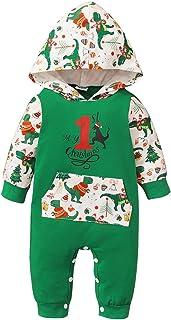 الوليد طفلة الأولاد مخطط عيد الميلاد بذلة الرضع الشتاء الدافئ حزب عيد الميلاد رومبير الملابس (Color : Green, Size : 110)