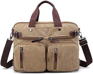 Somotoos Vintage Canvas Men's Briefcase Backpack Messenger Convertible Laptop Bag Handbag Backpack Travel Hiking Rucksack for 13~14 inch Laptop