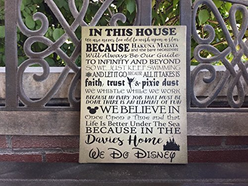 Disney Themed House Rules Custom Canvas, Father's Day Gift, We Do Disney, Personalize With Family Name, Perfect Birthday, Anniversary Or Housewarming Gift