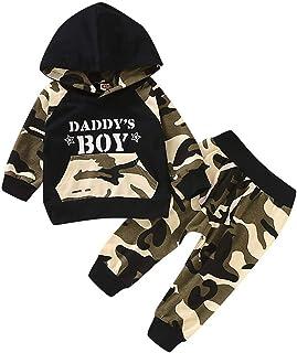 HWTOP Kinderkleidung Neugeborenes Kleidung Set Baby Junge Sportanzug Brief Hoodie Sweatshirts T Shirt Tops  Camouflage Hosen Outfits Set