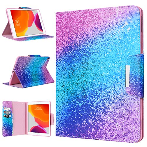 WE LOVE CASE Case for iPad 10.2 2020/2019, Cover for iPad 8th/7th Generation Lightweight Foldable Protective Shockproof Smart Shell Stand Case for iPad 7/iPad 8 10.2 Inch - Rainbow Sand