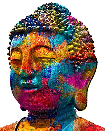 A Colorful Buddha Head - Wall Decor Art Print on a white background - 8x10 unframed meditation-themed print - great gift for relatives and friends