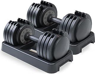 [1年保証] BODY RAJA (ボディー ラジャ) ダンベル 可変式ダンベル 25kg 5~25㎏ 可変ダンベル 5段階調節 5kg 10kg 15kg 20kg 体幹トレーニング 筋トレ 床キズ防止