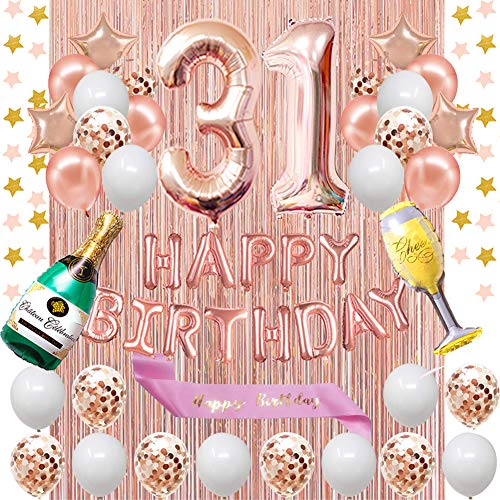 Fancypartyshop 31st Birthday Decorations - Rose Gold Happy Birthday Banner and Sash with Number 31 Balloons Latex Confetti Balloons Ideal for Girl and Women 31 Years Old Birthday