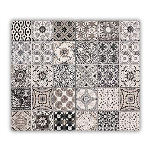 Tulup Glas Herdabdeckplatte - 2x30x52cm - Ceranfeldabdeckung Spritzschutz Glasabdeckplatte Kochplattenabdeckung und Schneidebrett - Sonstige - Keramikfliesen - Beige