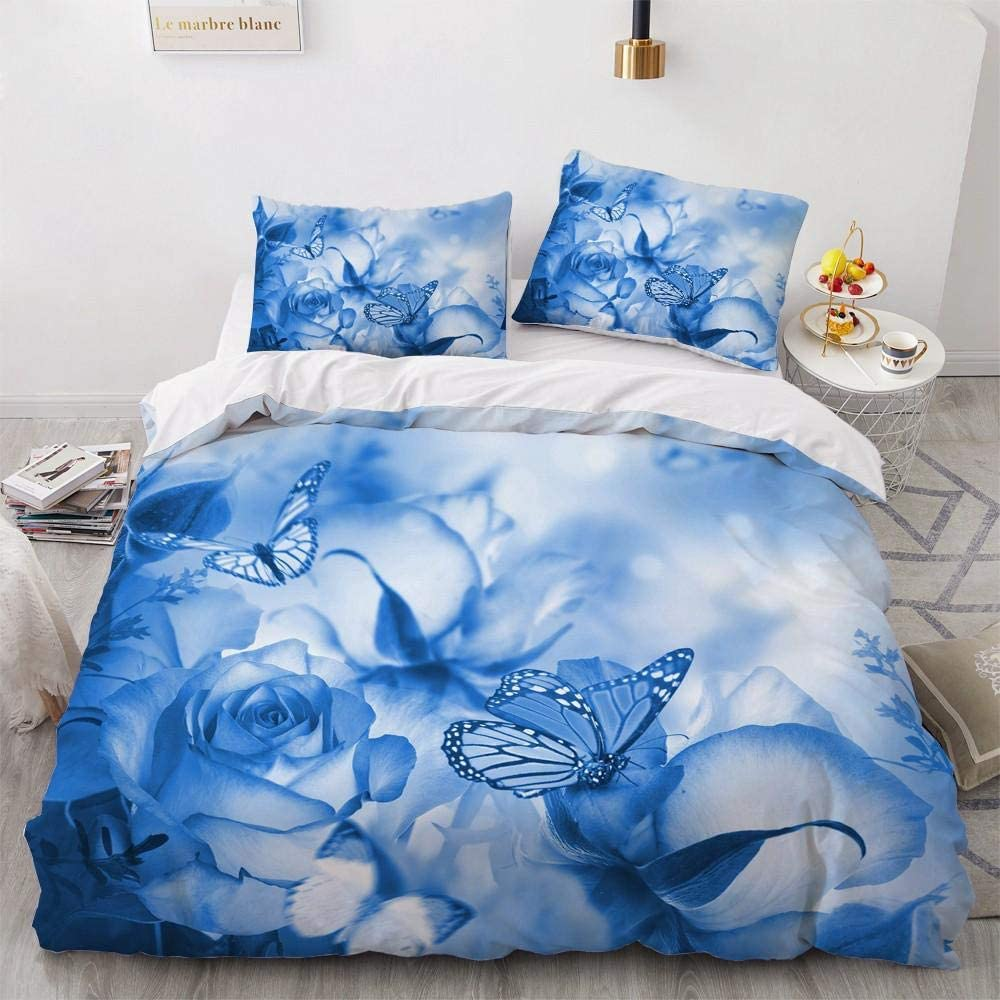 Duvet Courier shipping free shipping Cover Queen Blue Rose Includes Bedding 1 Butterfly Free Shipping New Comfort