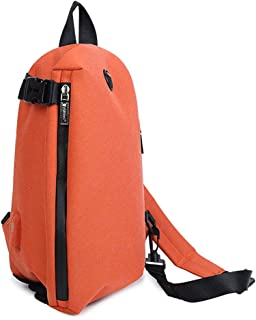 Chest Bag Canvas Shoulder Messenger Bag Purse Casual Sports Chest Bag Small Backpack with USB Interface (Color : Orange)