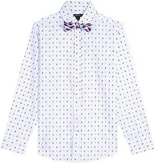 Nautica Boys' Long Sleeve Dress Shirt with Bow Tie