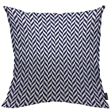 HOSNYE Herringbone Pattern Throw Pillow Cushion CoversPorcelain Indigo Blue and White Mosaic Wavy Decorative Square Accent Pillow Case 18 x18 inch