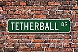 GIGIEU Home - Letrero decorativo para tetherball, regalo para tetherball, jugador, juego de tetherball, letrero de metal para uso en calle al aire libre, interior, 7,6 x 45,7 cm
