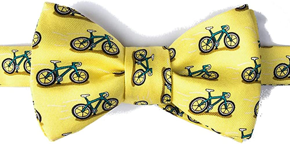 Men's Hipster 100% Silk Yellow Bike Bicycles Cycling Self Tie Butterfly Bow Tie