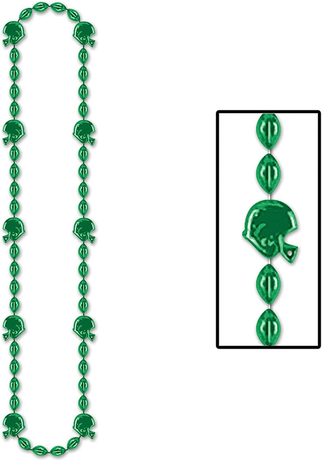 Club Pack of 12 Metallic Green Football Helmet Beaded Necklace Party Favors 36