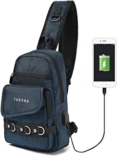 Tudequ Sling Chest Crossbody Backpack Bag Daypack with USB Port for Men Women