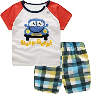 Lavany 2pc Baby Outfits Boys Girl Clothes Set Car Short Sleeve T Shirt+Stripe Pants