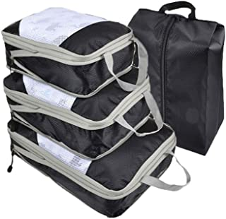 Travel Storage Bags Lightweight Travel Luggage Organizers Storage Bags Organizer Cubes Luggage Organizer Set Black 4Pcs
