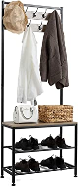 LLHW Bamboo Coat Rack, Shoe Bench, Hall Tree with Storage Shelf for Entryway, 3-in-1 Design, 9 Hooks, Easy Assembly Gray Hat