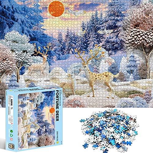 TaimeiMao Runde Puzzle 2000 Teile,Erwachsenenpuzzle,Puzzle Pädagogisches,Puzzle Kreative Erwachsene,Legespiel Puzzle,,Regenbogen PuzzlePuzzle Stressfreisetzung Spielzeug (Glückshirsch)