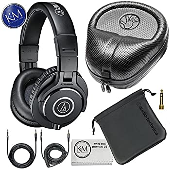 Audio-Technica ATH-M40x Professional Studio Monitor Headphones + Slappa Full Sized HardBody PRO Headphone Case SL-HP-07