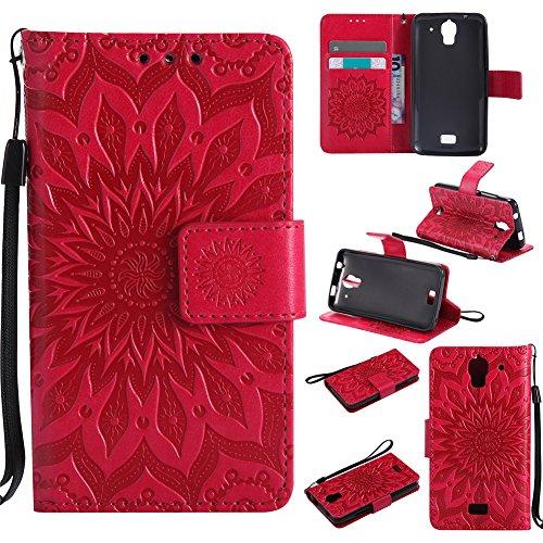 Nancen Compatible with Handyhülle Huawei Y3 Hülle,Huawei Ascend Y3 / Y360 / Y336 (4 Zoll) Leder Wallet Tasche Brieftasche Schutzhülle, Prägung Sonnenblume Muster