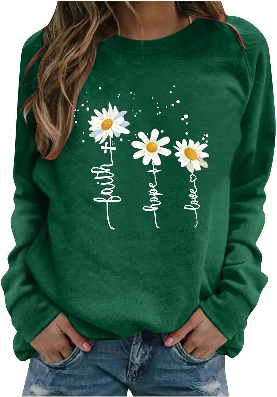 UOCUFY Women Sweatshirts Pullover, Women's Long Sleeve Lightweight Sweatshirt Casual Cute Print Crewneck Pullover Shirts