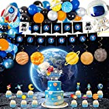 Outer Space Party Supplies, 87Pcs Party Decorations - Rocket Balloons, Solar System Swirl Decorations, Cupcake Toppers, Astronaut Birthday Banner, Backdrops