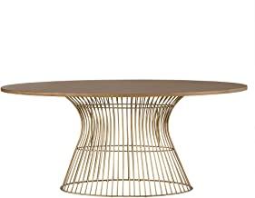 INK+IVY Mercer Dining Oval Solid Wood Tabletop, Metal Wire Frame Base Mid-Century Modern Style Dinner Tables, 70