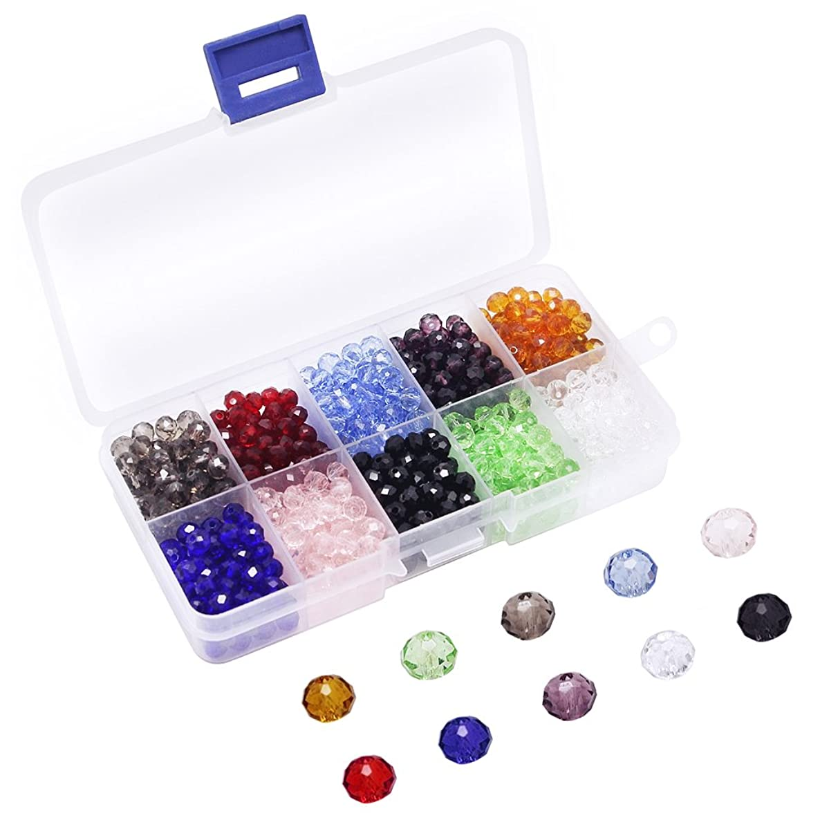 Dreamtop Multicolor 800 Pieces 6mm Faceted Crystal Glass Beads with Box for Jewelry Making DIY Crafts