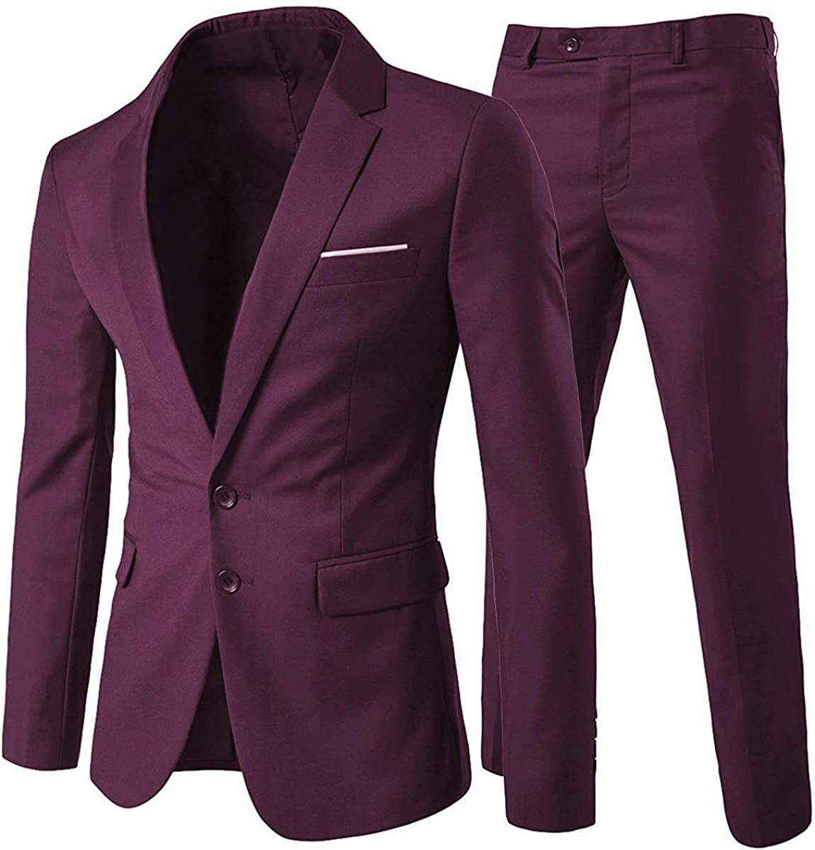 Allthemen Mens Suits 2 Piece Slim Fit Wedding Dress Suit Two Buttons Business Suit Blazer Casual Jackets Trousers