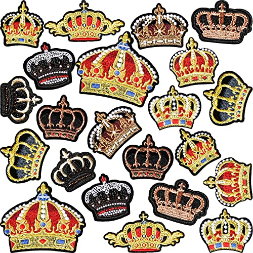 22 Pieces Queen Iron on Embroidered Patch Crown-Shaped Iron on Appliques DIY Crown-Shaped Decorative Patches for Clothes Dress Hat Pants Shoes Curtain Sewing Craft Decoration, 11 Styles