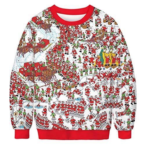 Pull de NoëL Unisexe Hiver Moche Chaud Dames Geek Drole Rock Rigolo Renne Cerf Muscle Style CréAtif Graffiti Sweat Graphique De NoëL Jumper 3D Ugly Christmas Sweater Fun NoëL Imprimé Sweat-Shirt