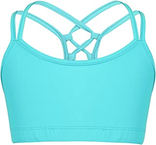 JEATHA Kids Girls Criss Cross Back Spaghetti Shoulder Straps Tank Top Gymnastic Sports Bra Ballet Dance Yoga Crop Top