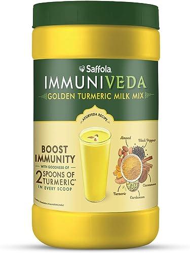 Saffola Immuniveda Golden Turmeric Milk Mix 400 g Ayurvedic Immunity Booster Haldi Doodh Healthy Drink for Kids Adults
