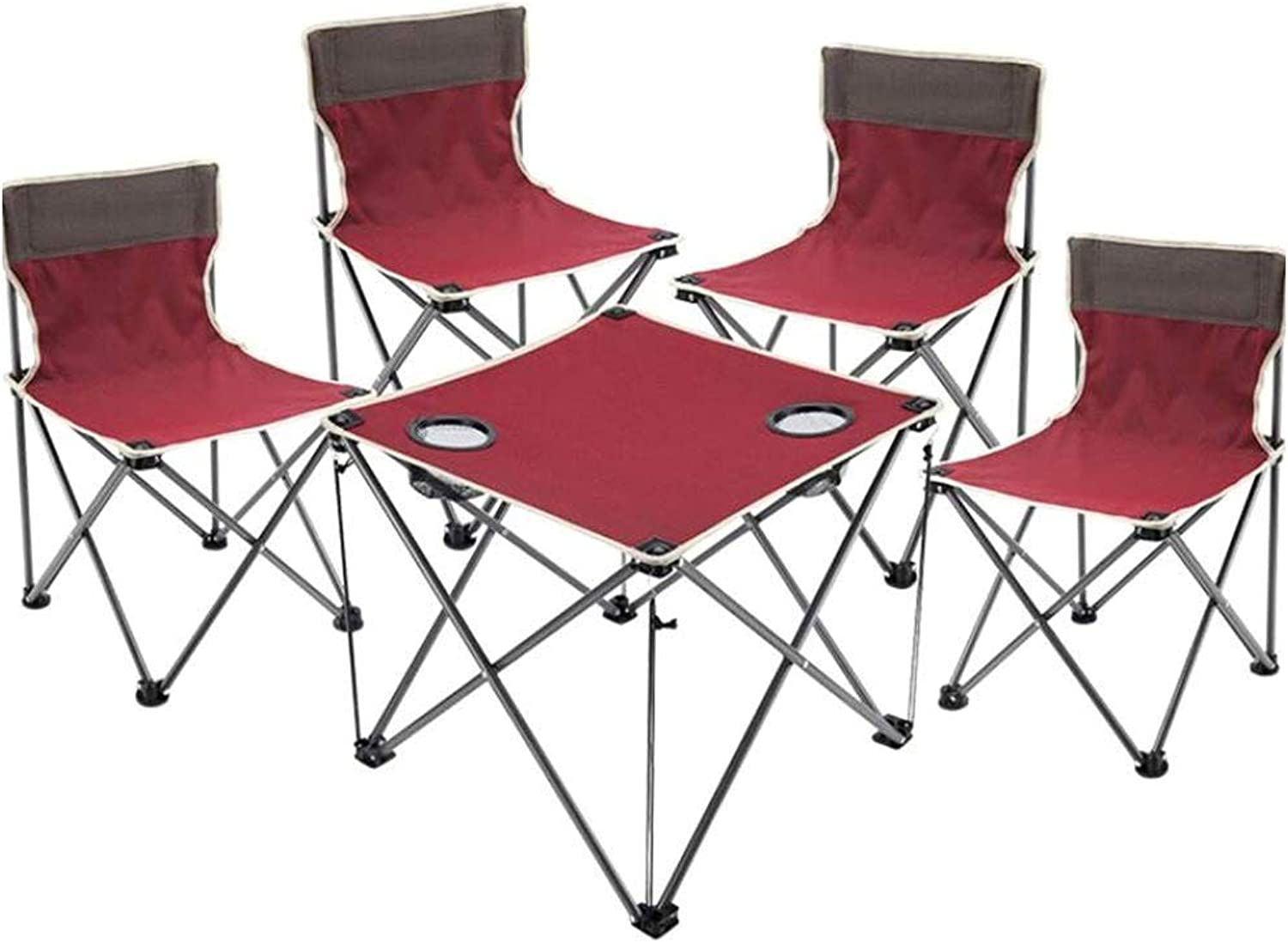 Portable Folding Table Outdoor Table and Chair Five-Piece Folding Table and Chairs Beach Chair Set Suitable for Indoor Camping Dinner Fishing, Multi-color Optional Zjnhl Folding Table (color   Red)