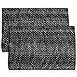 Sweet Home Collection Trends Two Tone 100% Cotton Woven Placemat (6 Pack), 13' x 19', Black