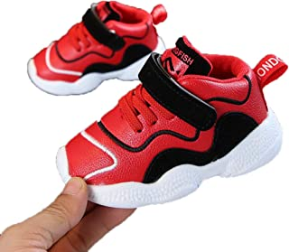 Kids Boys Girls Hook Loop Synthetic Leather Shoes Running Sneakers Sports Non Slip First Walker Shoes