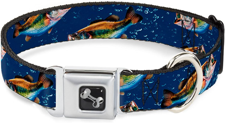 BuckleDown DCW32882M Dog Collar Plastic Clip Buckle, Bass Fish Water Bubbles, 1 x 1117