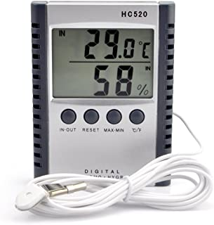 iKKEGOL Digital Indoor Outdoor in/Out Wall Mount Monitor Sensor LCD Temperature Thermometer Hygrometer Humidity Meter with Probe Cable