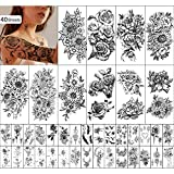 Yazhiji 40 sheets Waterproof Temporary Tattoos Large Sexy Flowers Collection Temporary Fake Tattoos for Women and Girls.
