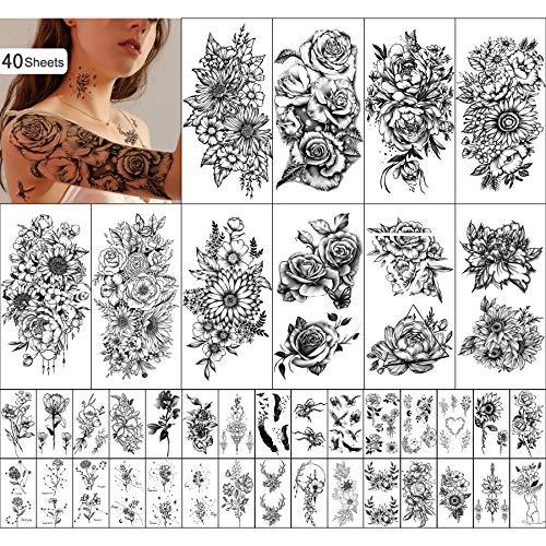 Yazhiji 40 sheets Waterproof Temporary Tattoos...