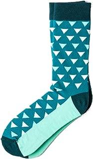 Men's Newport Aqua Turquoise & Teal Geometric Pattern Crew Dress Socks