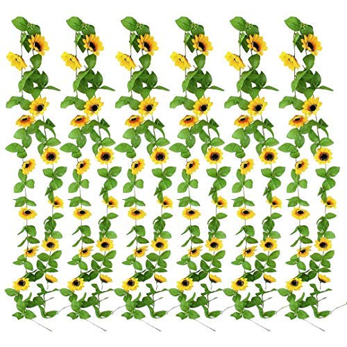 Indrah 6 Pack Artificial Sunflower Garland 7.9 FT Silk Sunflowers Vine with Green Leaves Hanging Sunflowers for Wedding Baby Shower Party Garden Decoration